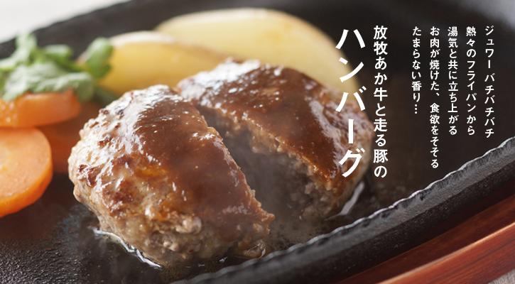 放牧あか牛と走る豚の「ハンバーグ」200g【冷凍】(無添加)