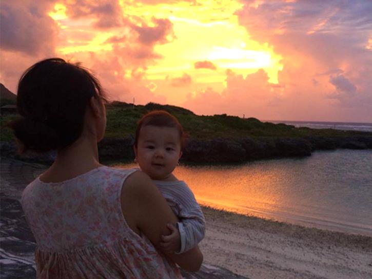 宝島の美しい夕日