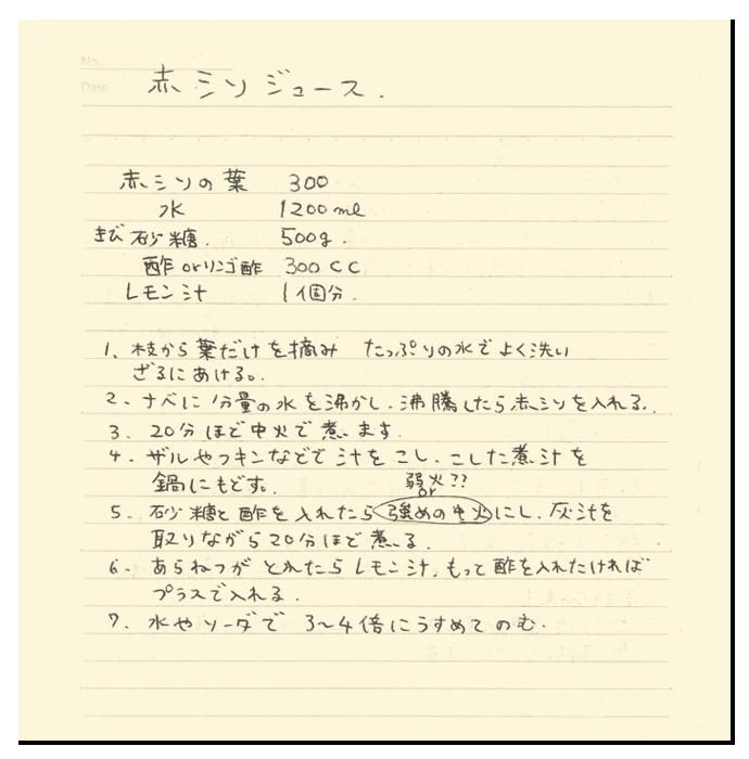 赤紫蘇ジュースのレシピ