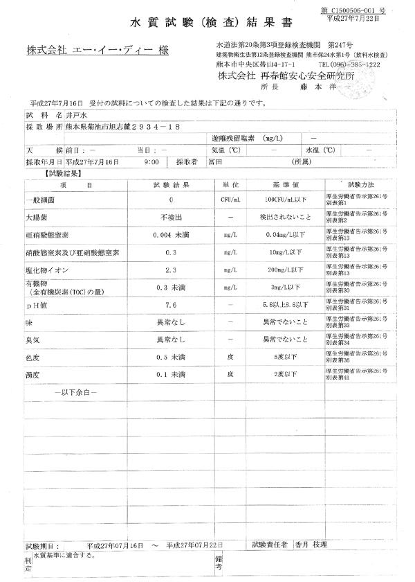 菊地ミネラル水の水質検査